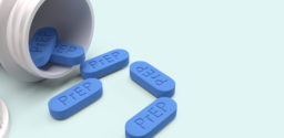 PrEP is HIV prevention pill for medical concept 3d rendering.